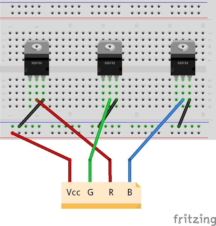 Tutorial How To Control A Led Strip With Raspberry Pi En De Rgb Colour Controller Connection Diagram Connecting The Breadboard 1 3