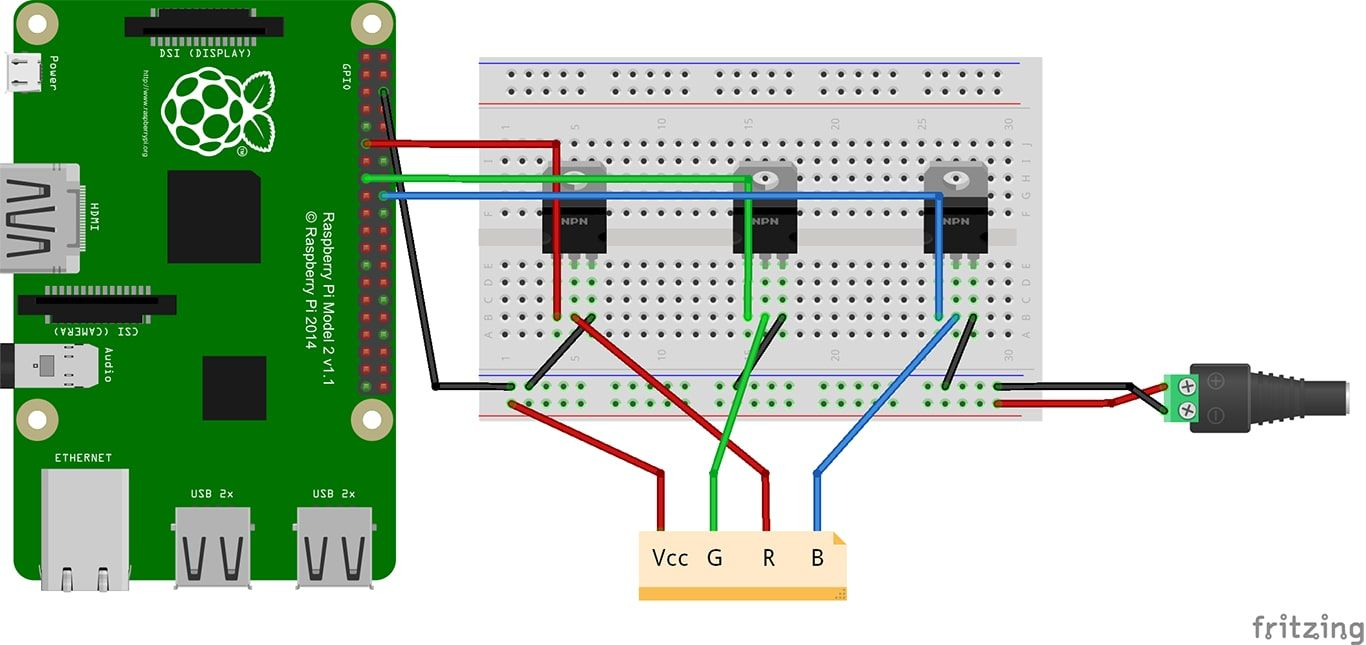 Tutorial How To Control A Led Strip With Raspberry Pi En De 3 Pin Wiring Diagram 1